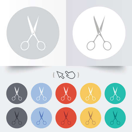 Scissors hairdresser sign icon. Tailor symbol. Round 12 circle buttons. Shadow. Hand cursor pointer. Vector Vector