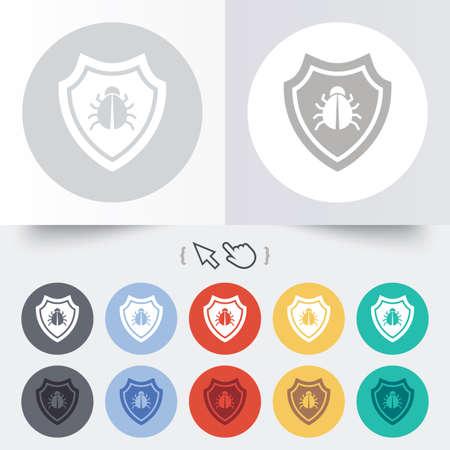 Shield sign icon. Virus protection symbol. Bug symbol. Round 12 circle buttons. Shadow. Hand cursor pointer. Vector Vector