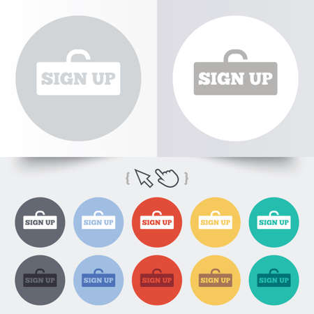 lock up: Sign up sign icon. Registration symbol. Lock icon. Round 12 circle buttons. Shadow. Hand cursor pointer. Vector