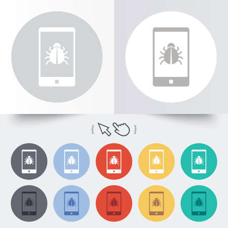Smartphone virus sign icon. Software bug symbol. Round 12 circle buttons. Shadow. Hand cursor pointer. Vector Vector