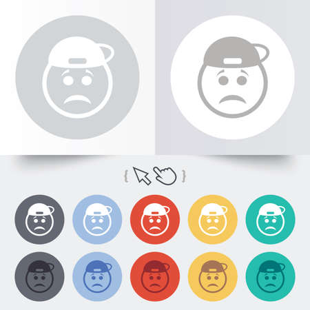 gloom: Sad rapper face sign icon. Sadness depression chat symbol. Round 12 circle buttons. Shadow. Hand cursor pointer. Vector Illustration