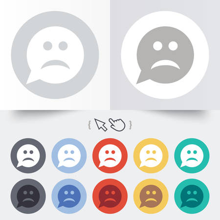 Sad face sign icon. Sadness depression chat symbol. Speech bubble. Round 12 circle buttons. Shadow. Hand cursor pointer. Vector Vector