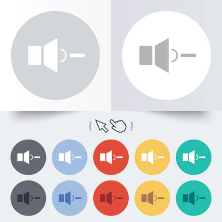 Speaker low volume sign icon. Sound symbol. Round 12 circle buttons. Shadow. Hand cursor pointer. Vector Vector