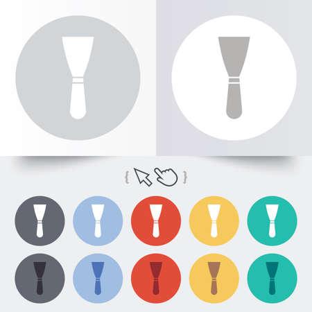 Spatula sign icon. Wall repair tool symbol. Round 12 circle buttons. Shadow. Hand cursor pointer. Vector Vector