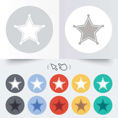 Star Sheriff sign icon. Police button. Sheriff symbol. Round 12 circle buttons. Shadow. Hand cursor pointer. Vector Vector
