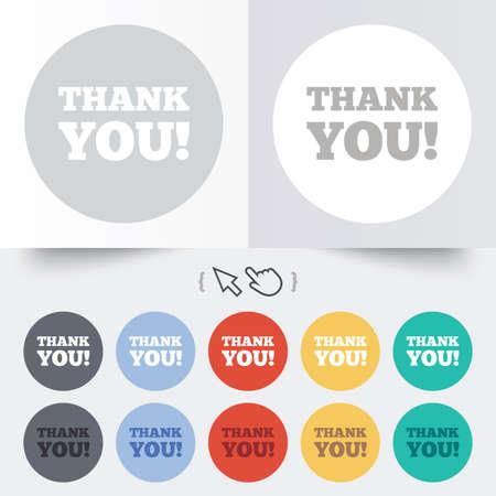 gratitudine: Grazie firmare icona. Simbolo di gratitudine. Rotondi 12 pulsanti cerchio. Ombra. Mano puntatore del cursore. Vettore Vettoriali
