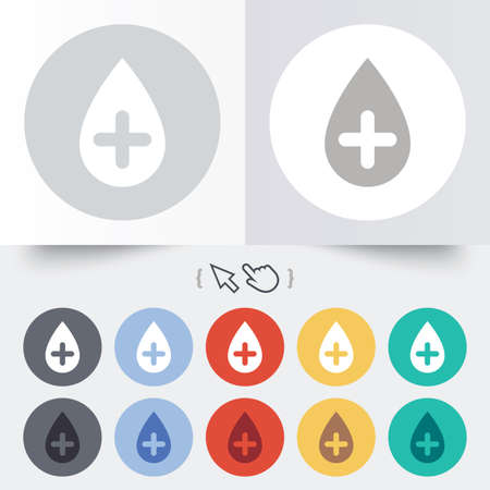 Water drop with plus sign icon. Softens water symbol. Round 12 circle buttons. Shadow. Hand cursor pointer. Vector