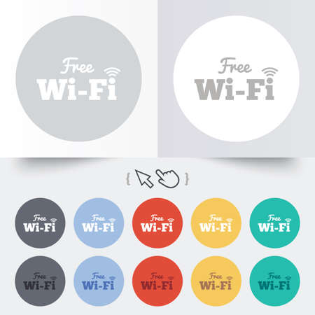 wifi sign: Free wifi sign. Wifi symbol. Wireless Network icon. Wifi zone. Round 12 circle buttons. Shadow. Hand cursor pointer. Vector