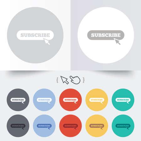 subscribing: Subscribe with cursor pointer sign icon. Membership symbol. Website navigation. Round 12 circle buttons. Shadow. Hand cursor pointer. Vector Illustration