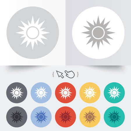 solarium: Sun sign icon. Solarium symbol. Heat button. Round 12 circle buttons. Shadow. Hand cursor pointer. Vector Illustration