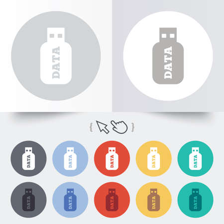 Usb Stick sign icon. Usb flash drive button. Round 12 circle buttons. Shadow. Hand cursor pointer. Vector Vector