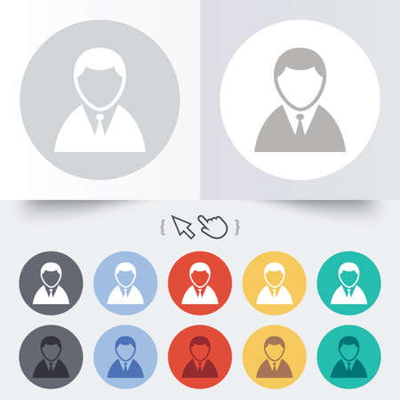 User sign icon. Person symbol. Human in suit avatar. Round 12 circle buttons. Shadow. Hand cursor pointer. Vector Vector