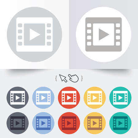 Video sign icon. Video frame symbol. Round 12 circle buttons. Shadow. Hand cursor pointer. Vector Vector