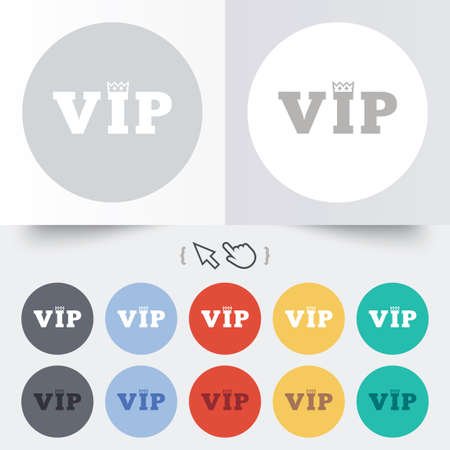 very important person: Vip sign icon. Membership symbol. Very important person. Round 12 circle buttons. Shadow. Hand cursor pointer. Vector Illustration