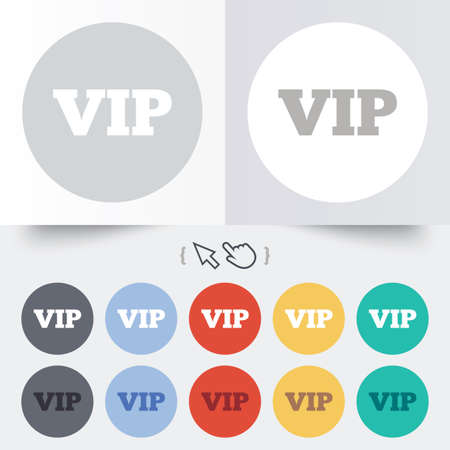 very important person sign: Vip sign icon. Membership symbol. Very important person. Round 12 circle buttons. Shadow. Hand cursor pointer. Vector Illustration