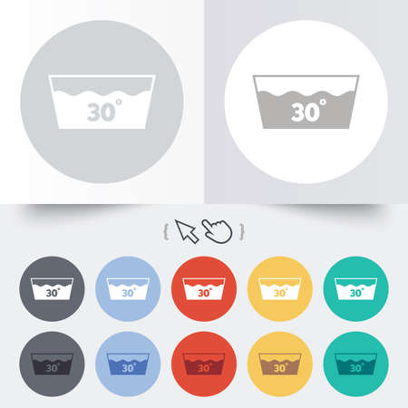 washbowl: Wash icon. Machine washable at 30 degrees symbol. Round 12 circle buttons. Shadow. Hand cursor pointer. Vector