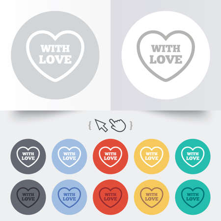Heart sign icon. With Love symbol. Round 12 circle buttons. Shadow. Hand cursor pointer. Vector Vector