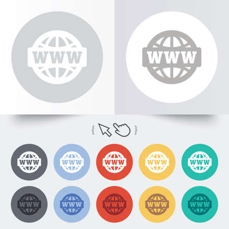 www at sign: WWW sign icon. World wide web symbol. Globe. Round 12 circle buttons. Shadow. Hand cursor pointer. Vector