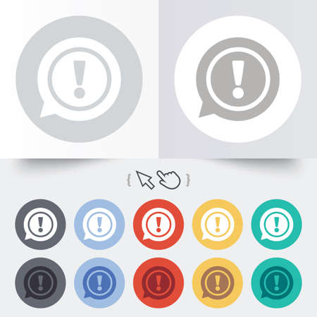 Exclamation mark sign icon. Attention speech bubble symbol. Round 12 circle buttons. Shadow. Hand cursor pointer. Vector