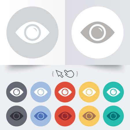 zichtbaarheid: Eye teken pictogram. Publiceren knop content. Zichtbaarheid. Ronde 12 cirkel knoppen. Schaduw. Hand cursor pointer. Stock Illustratie