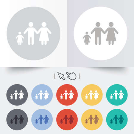 family with one child: Family with one child sign icon. Complete family symbol. Round 12 circle buttons. Shadow. Hand cursor pointer.  Illustration