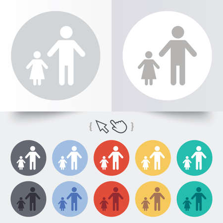 One-parent family with one child sign icon. Father with daughter symbol. Round 12 circle buttons. Shadow. Hand cursor pointer.