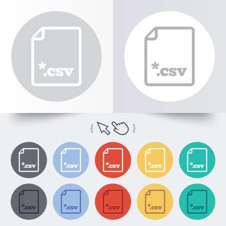 tabellare: File icona del documento. Scaricare pulsante tabellare file di dati. CSV simbolo estensione del file. Rotondi 12 pulsanti cerchio. Ombra. Mano puntatore cursore.