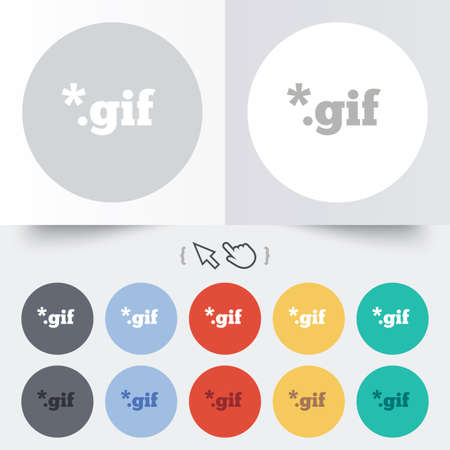 File GIF sign icon. Download image file symbol. Round 12 circle buttons. Shadow. Hand cursor pointer.