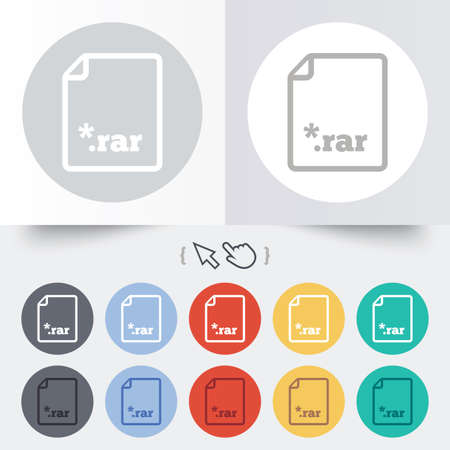 Archive file icon. Download compressed file button. RAR zipped file extension symbol. Round 12 circle buttons. Shadow. Hand cursor pointer.  Vector