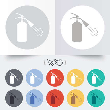 fire extinguisher sign: Extintor signo icono. S�mbolo de seguridad contra incendios. Ronda de 12 botones de c�rculo. Sombra. Puntero del cursor de la mano.
