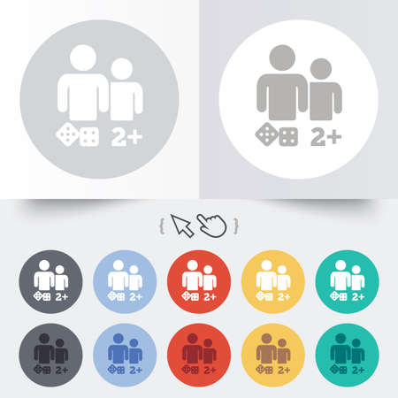 Board games sign icon. Two plus players symbol. Dice sign. Round 12 circle buttons. Shadow. Hand cursor pointer. Vector