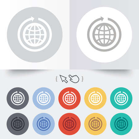Globe sign icon. Round the world arrow symbol. Full rotation. Round 12 circle buttons. Shadow. Hand cursor pointer.  Vector