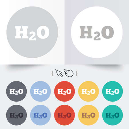 h2o: H2O Water formula sign icon. Chemistry symbol. Round 12 circle buttons. Shadow. Hand cursor pointer.