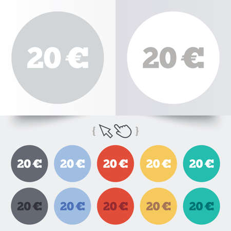 20 Euro sign icon. EUR currency symbol. Money label. Round 12 circle buttons. Shadow. Hand cursor pointer. Vector