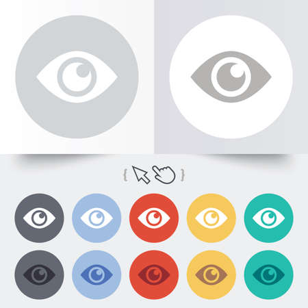 published: Eye sign icon. Publish content button. Visibility. Round 12 circle buttons. Shadow. Hand cursor pointer.