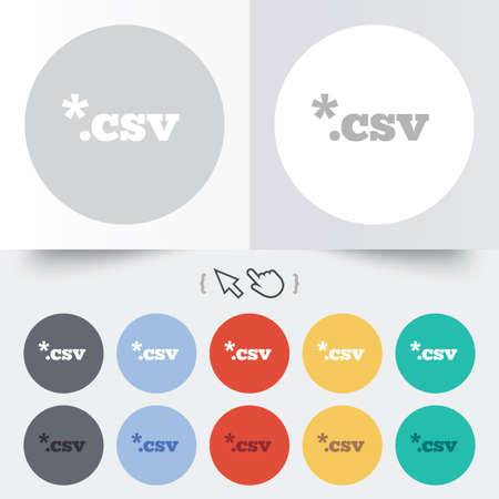 csv: File document icon. Download tabular data file button. CSV file extension symbol. Round 12 circle buttons. Shadow. Hand cursor pointer. Illustration