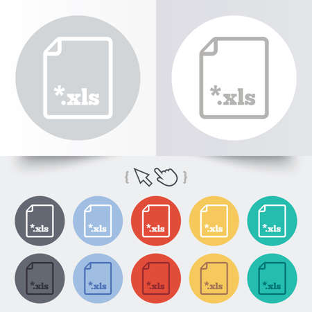 sobresalir: Icono de documento de archivo de Excel. Descarga bot�n xls. Archivo XLS s�mbolo extensi�n. Ronda de 12 botones de c�rculo. Sombra. Puntero del cursor de la mano.
