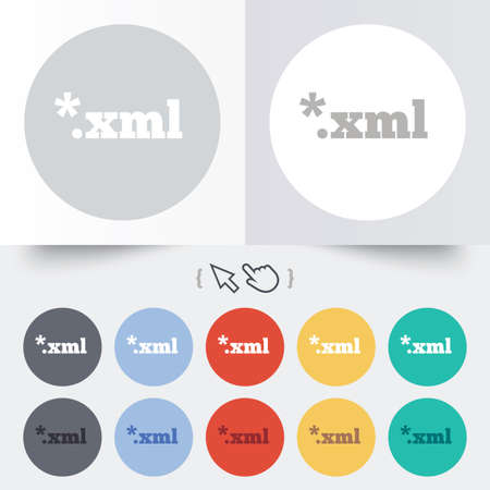 xml: File document icon. Download XML button. XML file extension symbol. Round 12 circle buttons. Shadow. Hand cursor pointer.