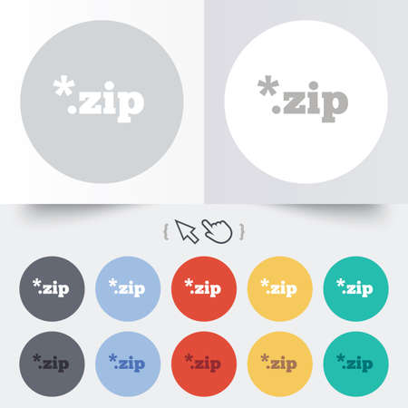 zipped: Archive file icon. Download compressed file button. ZIP zipped file extension symbol. Round 12 circle buttons. Shadow. Hand cursor pointer.