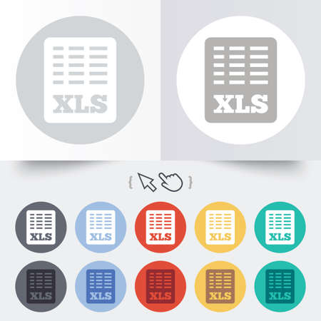 excel: Excel file document icon. Download xls button. XLS file symbol. Round 12 circle buttons. Shadow. Hand cursor pointer.  Illustration