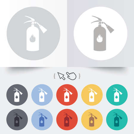 Fire extinguisher sign icon. Fire safety symbol. Round 12 circle buttons. Shadow. Hand cursor pointer.  Vector