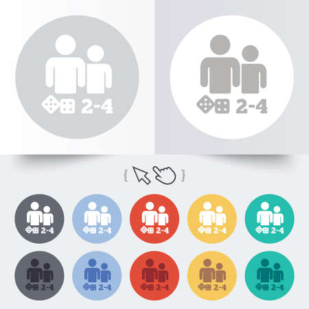 Board games sign icon. From two to four players symbol. Dice sign. Round 12 circle buttons. Shadow. Hand cursor pointer.  Vector
