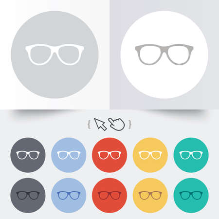 Retro glasses sign icon. Eyeglass frame symbol. Round 12 circle buttons. Shadow. Hand cursor pointer. Vector
