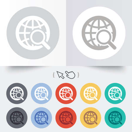 Global search sign icon. World globe symbol. Round 12 circle buttons. Shadow. Hand cursor pointer.  Vector