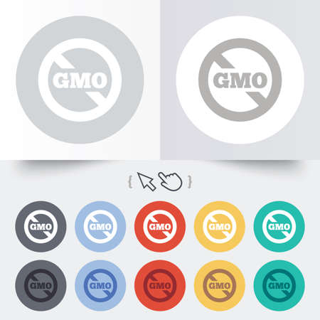 genetically: No GMO sign icon. Without Genetically modified food. Stop GMO. Round 12 circle buttons. Shadow. Hand cursor pointer.  Illustration
