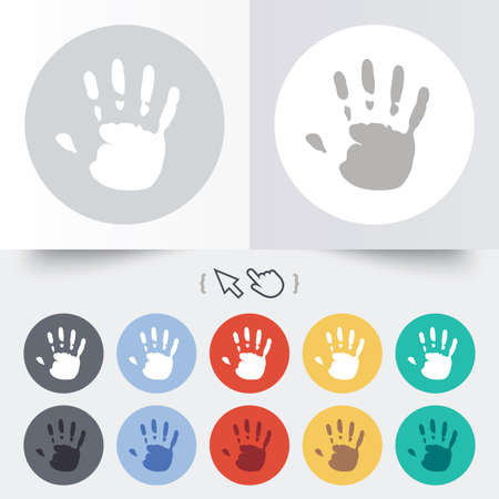 Hand print sign icon. Stop symbol. Round 12 circle buttons. Shadow. Hand cursor pointer. Vector