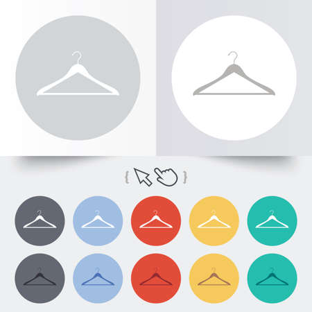 cloakroom: Hanger sign icon. Cloakroom symbol. Round 12 circle buttons. Shadow. Hand cursor pointer.  Illustration