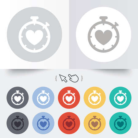 Heart Timer sign icon. Stopwatch symbol. Heartbeat palpitation. Round 12 circle buttons. Shadow. Hand cursor pointer.