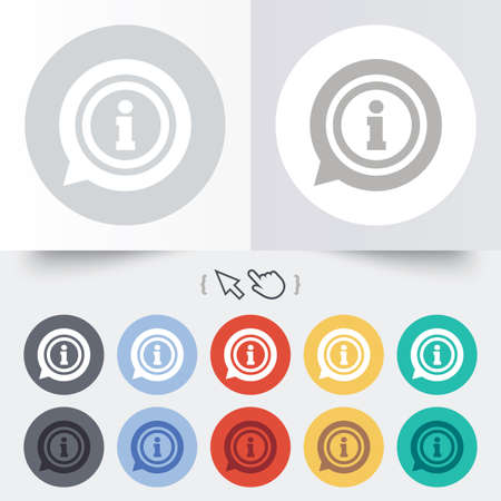 inform: Information sign icon. Info speech bubble symbol. Round 12 circle buttons. Shadow. Hand cursor pointer.  Illustration