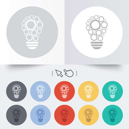 Light lamp sign icon. Bulb with circles symbol. Idea symbol. Round 12 circle buttons. Shadow. Hand cursor pointer.  Vector